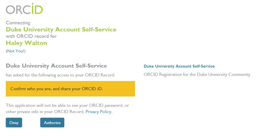 ORCID oauth duke