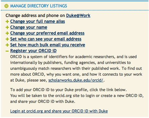 Manage Directory Listings Duke